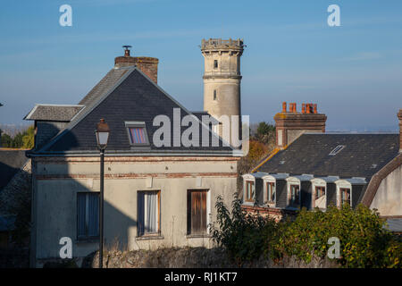 The lighthouse by the old Hospice at Honfleur, France. - Stock Image