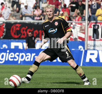 Mariusz Kukielka of Cottbus controls the ball during the DFB Cup 1st Round match Rot-Weiss Essen v Energie Cottbus - Stock Image
