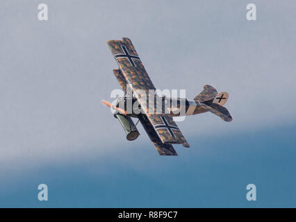 Historical Fokker D.VII biplane fighter on a display flight at the Finnish Air Force 100 Years Anniversary Air Show at Tikkakoski on 16 June 2018. - Stock Image