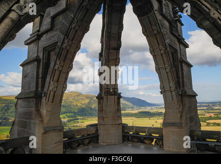 The Ochil Hills viewed from The National Wallace Monument on Abbey Craig, Stirling in Scotland - Stock Image