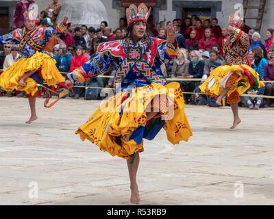Dancers at the Black-Necked Crane Festival in Gangtey, Bhutan - Stock Image