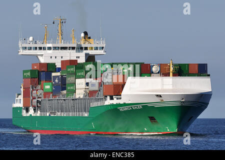 Feedervessel Heinrich Ehler bound for the Kiel Canal. - Stock Image