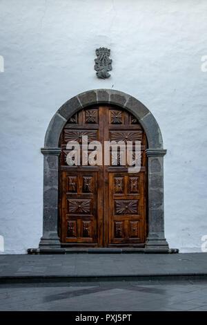 Doorway of the Iglesia de Nuestra Senora de los Remedios (Church of Our Lady of Remedies) in Los Llanos de Aridane, La Palma, Canary Islands, Spain - Stock Image