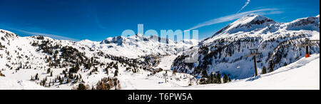 Panoramic view from mountain looking down over Obertauern, Austria - Stock Image