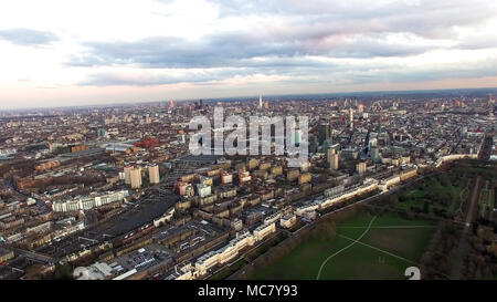 Aerial View London Cityscape with Dusk Sunset Sky around Regent's Park, Camden Town Central City Town Neighborhood Skyline in England, UK - Stock Image