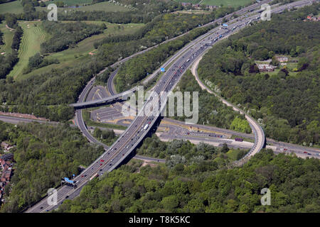 aerial view of the A580 Wardley park & ride at junction 14 of the M60 motorway where it meets the A580 road at Wardley near Swinton, Manchester - Stock Image