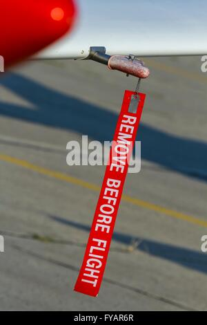 Remove before flight stripe warming - Stock Image