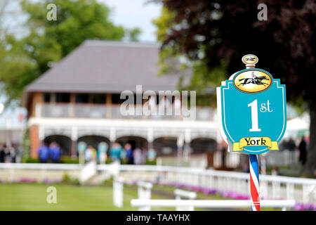 A detail view of York Racecourse signage - Stock Image
