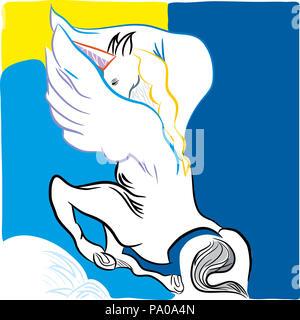 Flying horse unicorn. illustration of flying horse unicorn flying on the blue sky. - Stock Image