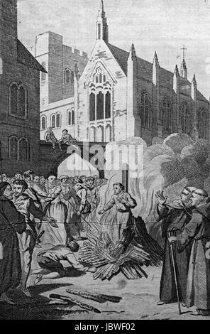The Martyrdom of Archbishop Cranmer. Engraving from c 1780 edition of The New Book of Martyrs by Rev Dr Henry Southwell - Stock Image