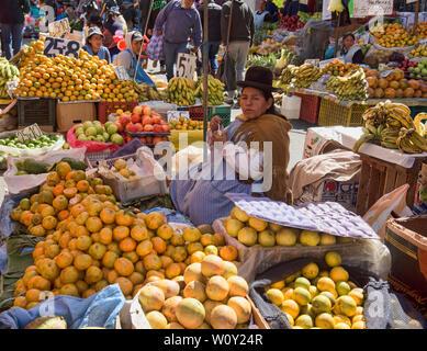 Traditional cholita selling oranges in the Mercado Rodriguez market, La Paz, Bolivia - Stock Image