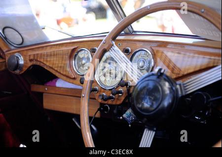 Dashboard instrumentation, 1951 Riley Drophead Special vintage motor car. - Stock Image