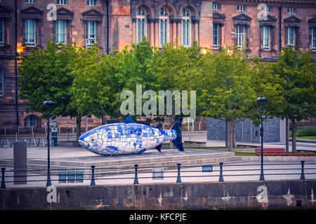The Big Fish is a printed ceramic mosaic sculpture in Belfast also known as The Salmon of Knowledge. The work celebrates - Stock Image