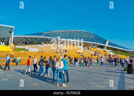 Amphitheatre, in front of the concert hall, Zaryadye Park, central Moscow, Russia - Stock Image