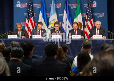 U.S. Secretary of State Rex Tillerson delivers a statement during the joint press availability with Central American - Stock Image