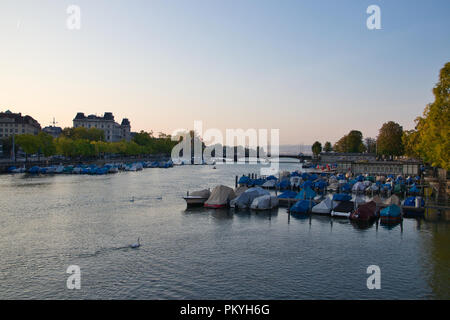 Zurich - view on the limmat river - Stock Image