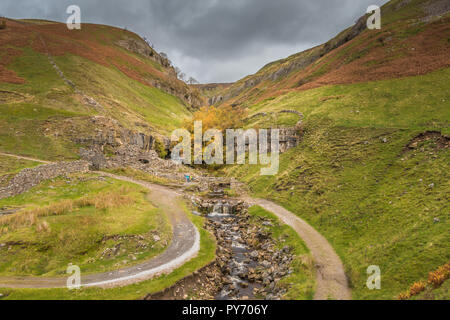 Yorkshire Dales National Park autumn landscape, Swinner Gill and remains of lead mining smelt mill, Swaledale, UK - Stock Image