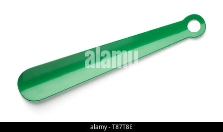 Top view of green metal shoehorn isolated on white - Stock Image