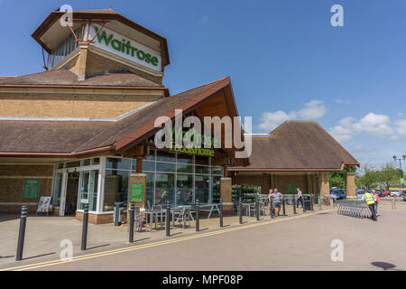 A large Waitrose Food and Home Superstore, Rushden, Northamptonshire, UK - Stock Image