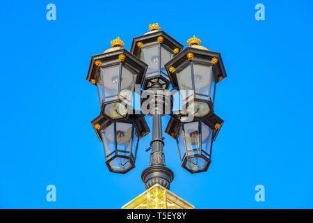 Detail of lamps outside Buckingham Palace, London, UK - Stock Image