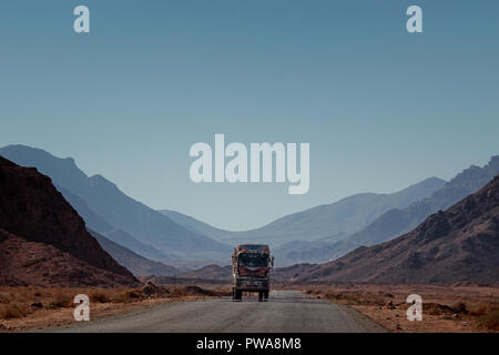 Truck in desert road. South Sinai. Egypt - Stock Image