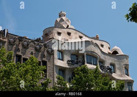 The exterior of the Casa Mila building designed by Antoni Gaudi, Barcelona, Spain - Stock Image