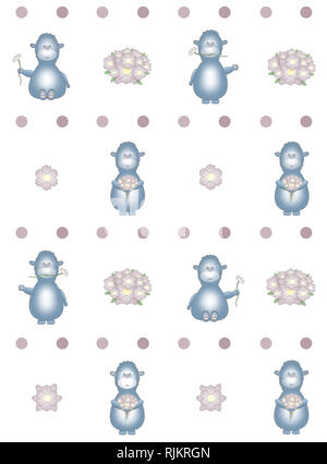 cute seamless pattern for baby textile or wallpaper, with blue fantasy animal, holding flowers, on white background - Stock Image