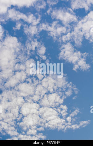 Blue summer sky with fluffy white clouds. - Stock Image