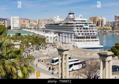 The Viking Jupiter cruise liner, belonging to the Viking Cruise Line, docked at Muelle Uno, Malaga, Costa del Sol, Malaga Province, Andalusia, souther - Stock Image