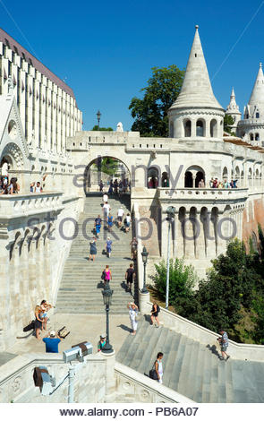 Steps leading up to the Fisherman's Bastion, in the Buda Castle District in Budapest, Hungary. - Stock Image