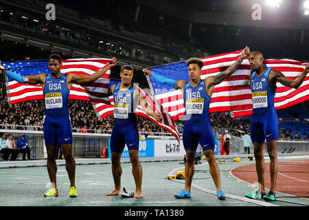 YOKOHAMA, JAPAN - MAY 12: Remontay McClain, Bryce Robinson, Christopher Belcher and Vernon Norwood of the USA after they won the mens 4x200m relay final during Day 2 of the 2019 IAAF World Relay Championships at the Nissan Stadium on Sunday May 12, 2019 in Yokohama, Japan. (Photo by Roger Sedres for the IAAF) - Stock Image