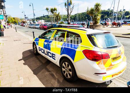 Devon & Cornwall police car, Dartmouth, Devon, UK, England, Devon & Cornwall police, police vehicle, police car, police, car, vehicle, UK, Devon - Stock Image