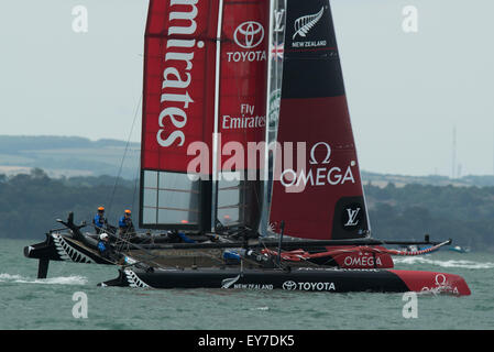 Portsmouth, UK. 23rd July 2015. Emirates Team New Zealand during the Parade Of Sail on day one of the America's - Stock Image