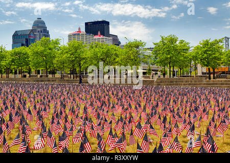 Twenty thousand American Flags on the Great Lawn, Louisville, Kentucky, Forth of July - Stock Image