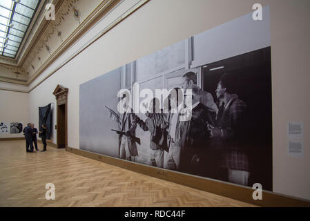 A part of the 'A Series of Utterly Improbable, Yet Extraordinary Renditions' exhibition by US artist Arthur Jafa is seen in the Rudolfinum Gallery in  - Stock Image