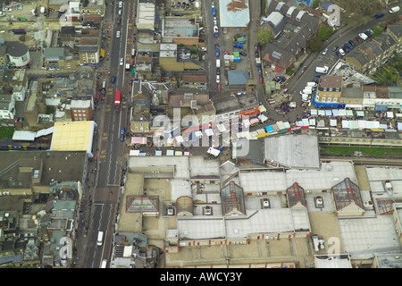 Aerial view of the Ridley Road Street Market in Dalston in East London which is also known as Dalston Market - Stock Image
