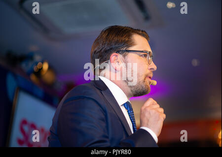 Stockholm, Sweden, September 9, 2018. Swedish General Election 2018.  Election Night Watch Party for Sweden Democrats (SD) in central  Stockholm, Sweden.Party Leader Jimmie Akesson (SD). Credit: Barbro Bergfeldt/Alamy Live News - Stock Image