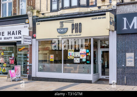 Bowl o' Pho Vietnamese Restaurant in Bromley, South London. - Stock Image