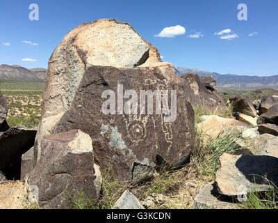 Native Americans (Jornada Mogollon people) carved petroglyphs on rocks at Three Rivers Petroglyph Site near Tularosa, - Stock Image