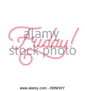 Friday in pink. Vector typography design isolated on white background - Stock Image