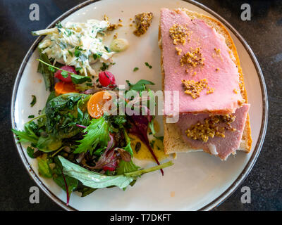 Café lunch Honey Roast  ham open sandwich with Pommery mustard salad and pickles - Stock Image