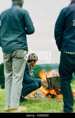 campfire, friends - Stock Image
