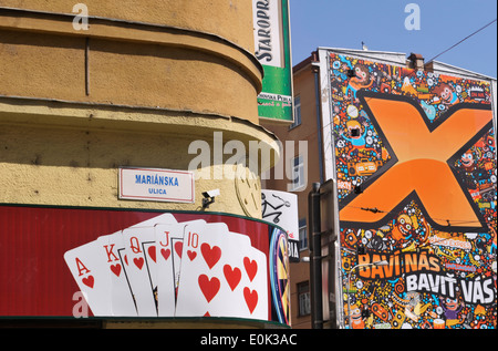 Exterior of a poker club and advertising mural, marianska ulica street, Bratislava, Slovakia - Stock Image
