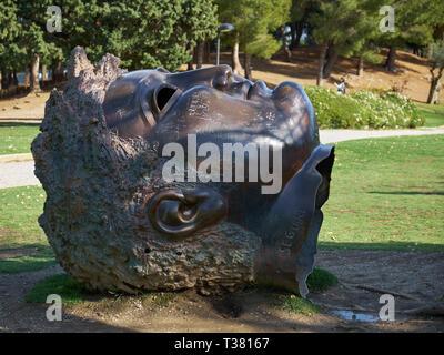 Head Sculpture. Parque de la Paloma. Benalmádena, Málaga, Spain. - Stock Image