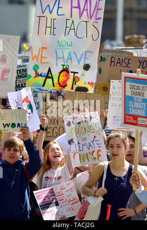 London, UK. 24th May 2019. Crowds of mostly schoolchildren gather in Parliament Square for the monthly #FridaysForFuture climate strike Credit: PjrFoto/Alamy Live News - Stock Image