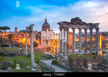 Ancient ruins of Roman Forum at sunrise, Rome, Italy - Stock Image