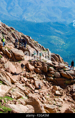 Runners in the Pikes Peak Marathon and Ascent - Stock Image