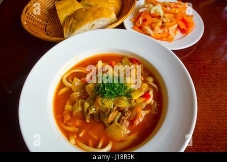 Lagman, caucasian uzbekistan cuisine, a stew, Centraltirgus, Riga, Latvia, Europe - Stock Image
