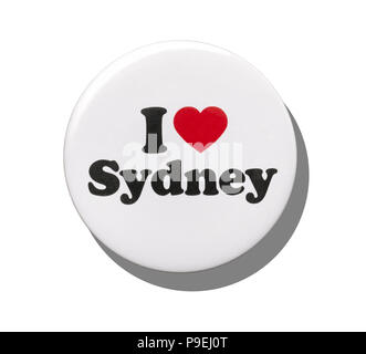 A white I love Sydney badge - Stock Image