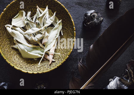 Crow Feather and Obsidian with White Sage on Black Wood - Stock Image